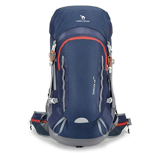 CAMEL CROWN 45L Hiking Backpack Women/Men Large Lightweight Backpacks Internal Frame Hike Backpacking for Picnic Ski Travel Camping Dark Blue