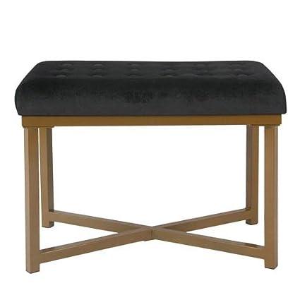 Enjoyable Amazon Com Meadow Lane Tufted Velvet Ottoman Black Bralicious Painted Fabric Chair Ideas Braliciousco