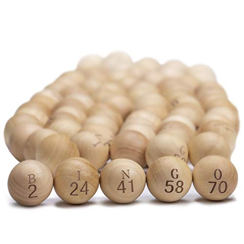 Natural Wood Bingo Balls Large 78 Inch Engraved Wooden Balls Fits Jumbo Bingo Cages Perfect For Bingo Nights Raffles And More Lost Bingo