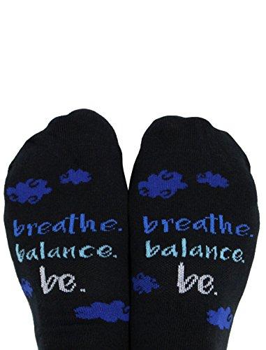Toe Talk Breathe. Balance. BE. Non Slip Grip Socks, Women's Sizes 6-10, Black/Blue, Ideal for Pilates Yoga & Mindful Practice