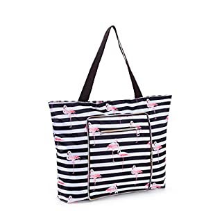 Foldable Large Waterproof Tote Bag with Zipper for Beach, Travel, Gym and Swim