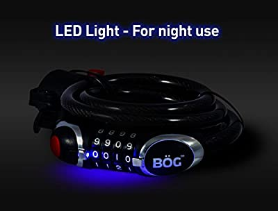 """COMBINATION BIKE CABLE LOCK WITH LED LIGHT 1/2"""" Self Coiling Cable with Soft Plastic Coating."""