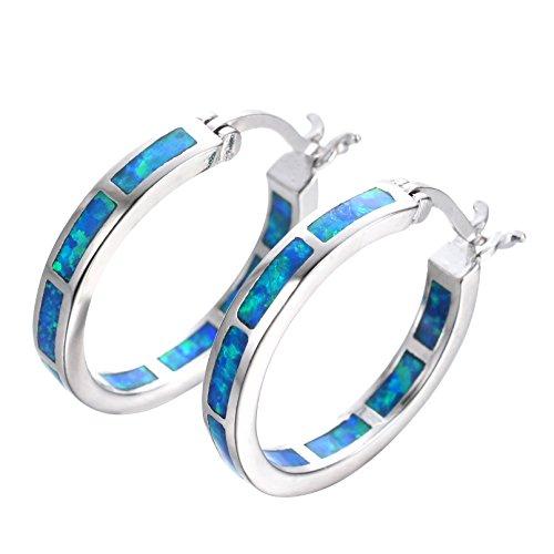 (Adeser Jewelry Girls 925 Promise Hoop Silver Earrings Lab Opal Wedding Engagement Gift Hoop Stud Earrings for Her)