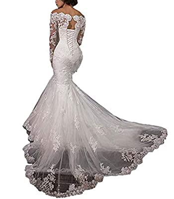 Off The Shoulder Wedding Dresses Long Sleeve Lace Mermaid Wedding Dresses Ball Gown for Bride 2019