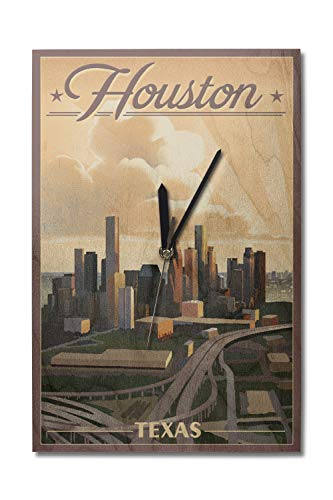 Lantern Press Houston, Texas - Lithograph (10x15 Wood Wall Clock, Decor Ready to Hang)