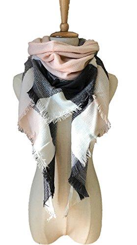 Wander Agio Womens Warm Scarf Triangle Shawls Large Scarves Stripe Plaid Fichu Big Plaid Grey Pink (Big Triangle)
