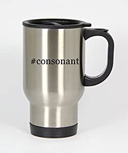 #consonant - Funny Hashtag 14oz Silver Travel Mug