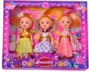 WP Toys Pack of 3 4'' Mini Doll with Colorful Clothes Costume