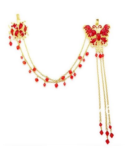 Fashion Jewelry ~ Hair Accessory ~ Red Butterfly and Flower with Goldtone Hanging Chains and Red Beads Design Bridal Hair Clip (0474 R)