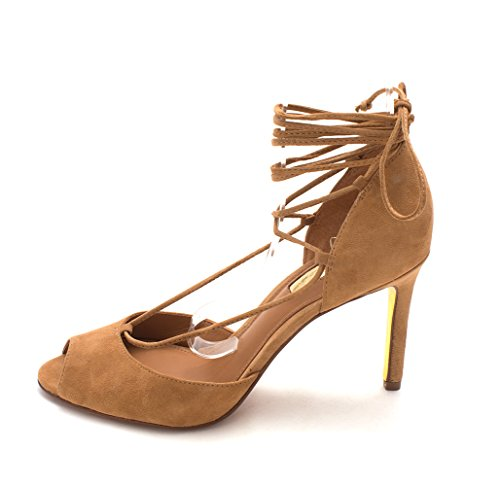 Lauren by Ralph Lauren Womens Linden Leather Peep Toe Ankle Wrap D-Orsay Pumps Camel veuxRDK