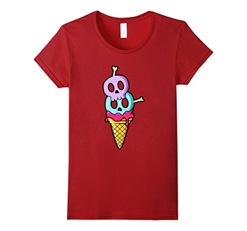 Skull Ice Cream - Womens Pastel Goth Skulls and Bones Ice Cream Cone T-Shirt Large Cranberry