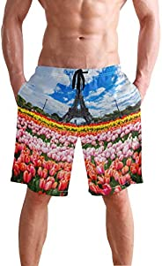 Men's Beach Swim Trunks Eiffel Tower Tulip Sky Boxer Swimsuit Underwear Board Shorts with Po