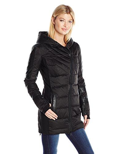 Blanc Noir Women's Asymmetric Puffer Coat, Black Satin/Black, Small