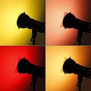 "Neewer 7""x8""/18 x20 cm Transparent Color Correction Lighting Gel Filter Set Pack of 5 Gel Sheet for Photo Studio Strobe Flash Light (Red,Orange,Golden,Yellow,&Magenta)"