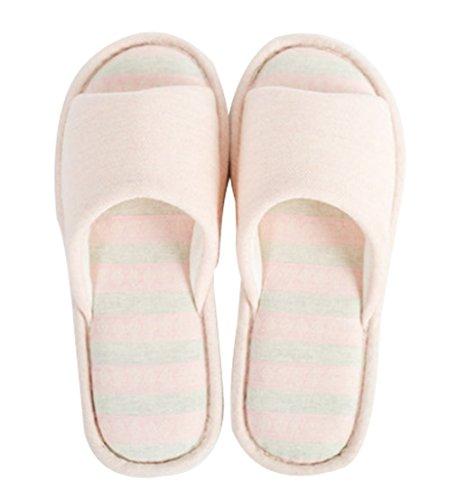 Dames Katoenen Indoor Slippers Open Teen Slippers Roze