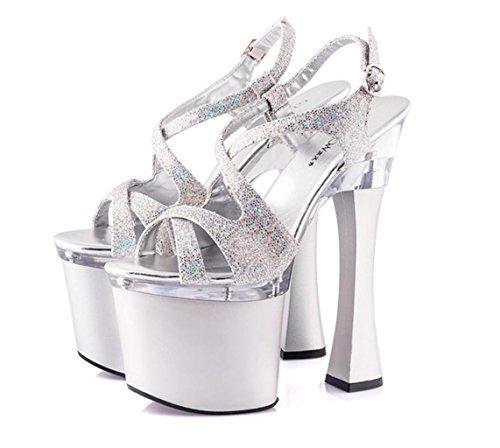 haut Talon Femme Et Soirée silver À 35 chaussures Ultra Fête Stiletto Élégant Black boucle D'été Beau De Sandales Talons Mnii vfSpqIA
