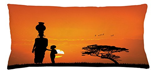 Ambesonne African Throw Pillow Cushion Cover, Child and Mother at Sunset Walking in Savannah Desert Dawn Kenya Nature Image, Decorative Square Accent Pillow Case, 36 X 16 Inches, Orange Black