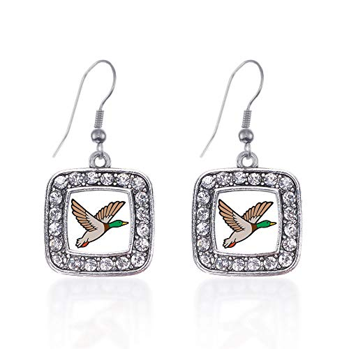 (Inspired Silver - Duck Season Charm Earrings for Women - Silver Square Charm French Hook Drop Earrings with Cubic Zirconia Jewelry)
