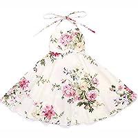 Flofallzique Vintage Floral Easter Dress for 1-12 Y Girls Birthday Wedding Party Sundress for Toddler