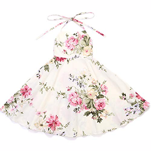 Flofallzique Floral Girls Dress Vintage Toddler Dress Birthday Baby Girls Summer Party Dress(Cream,2