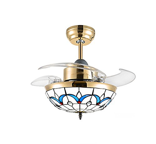 Huston Fan Invisible Ceiling Fan Light with Remote Control and Transparent Telescopic Blade Mediterranean Electric Fan Lighting Kid's Bedroom Variable Light Chandelier Fan (36 Inches, Gold-B) Review