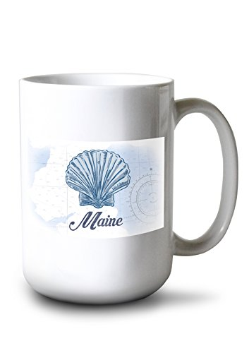 Lantern Press Maine - Scallop Shell - Blue - Coastal Icon (15oz White Ceramic Mug)