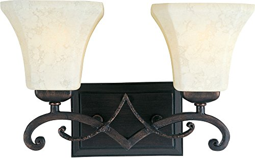 Rustic Iron Ribbon (Maxim 21072FLRB Oak Harbor 2-Light Bath Vanity Wall Sconce, Rustic Burnished Finish, Frost Lichen Glass, MB Incandescent Incandescent Bulb , 10W Max., Dry Safety Rating, 3000K Color Temp, Shade Material, 650 Rated Lumens)