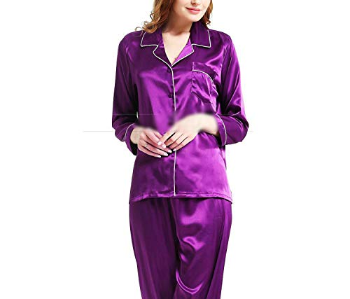 (Womens Silk Satin Pyjamas Set Sleepwear Loungewear U.S.S6 M8 M10 L12 L14 L16 L18 L20 S ~3XL Plus Size,Purple,L)