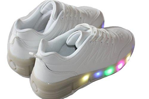 amara-global Womens Boys Sneakers Bright Flashing LED Light Rr14 White