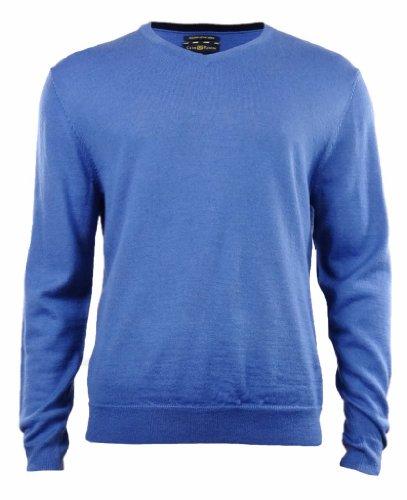 Men's Merino Wool Blend V-Neck Sweater (L, Bright Cobalt)