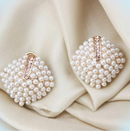 (Pretty New Yellow Gold Plated White Seed Pearl & Crystal Cluster Stud Earrings For Women Lady)