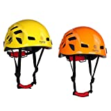 Dovewill 2 Pieces/ Set Yellow & Orange Adjustable Safety Helmet Hard Hat for Outdoor Mountaineering Ice Rock Climbing Caving Exploring Rappelling Protector 21''-24''