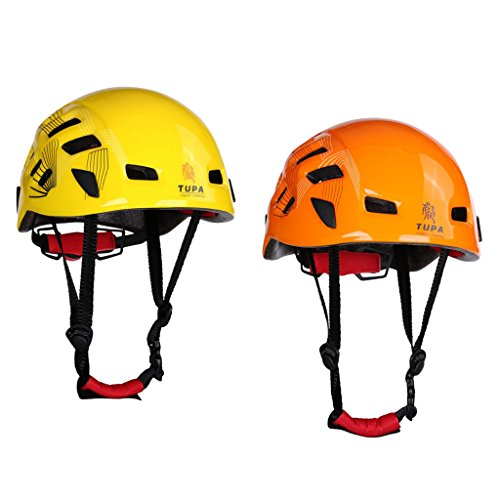 Jili Online 2 Pieces Yellow + Orange Safety Helmet Head Protection Hard Hat for Outdoor Rock Climbing Tree Arborist Aerial Work Rappelling Rescue Protective Gear 21''-24'' by Jili Online