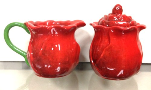 2-Pieces, Creamer & Sugar Set, Ruffle Red - Rose Bowl Sugar