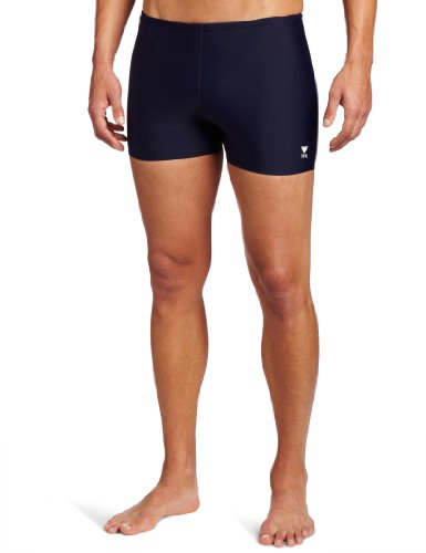 TYR Sport Men's Square Leg Short Swim Suit,Navy,34