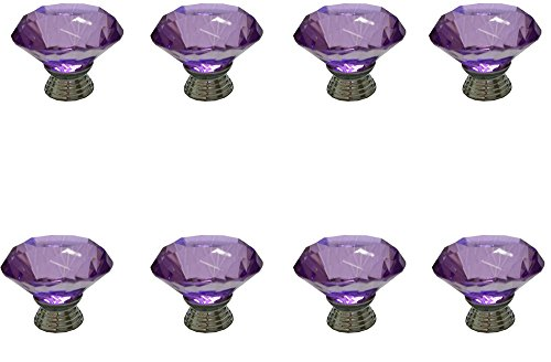 Generic 8pcs 40mm Purple Glass Crystal Diamand Shaped Cabinet Door Knob Cupboard Drawer Pull Handle Kitchen Door Wardrobe Hardware Used for Cabinet, Drawer, Chest, Bin, Dresser, Cupboard, Etc (Purple Crystal Cabinet Knobs compare prices)