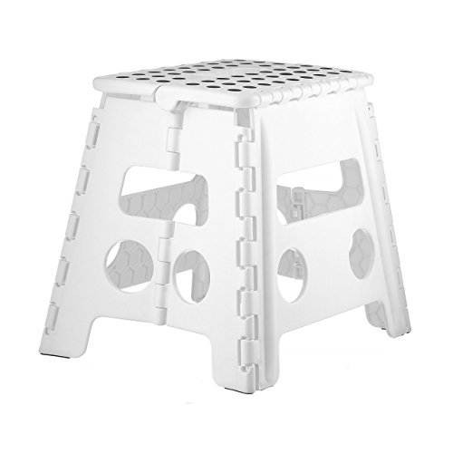 Home-it 375 Folding Step Stool Children and for Adults 13 in. White Holds up to 300 LBS, Inches