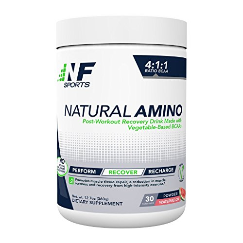 NF Sports Natural Amino - Post-Workout Recovery Drink Mix Made with Vegetable-Based BCAA - Watermelon Flavor - 100% Satisfaction Guaranteed - 30 Servings