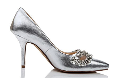 Women's Pointed Hollow Rhinestones Hand Made Pump Wedding Shoes Silver Sliver fNnlT0k7K