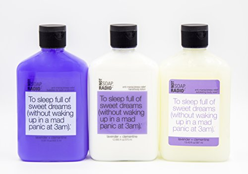 Bubble Bath, Shower Gel and Lotion Trio – To Sleep Full Of Sweet Dreams – Lavender and Clementine Stress Relief Formula By Not Soap, Radio