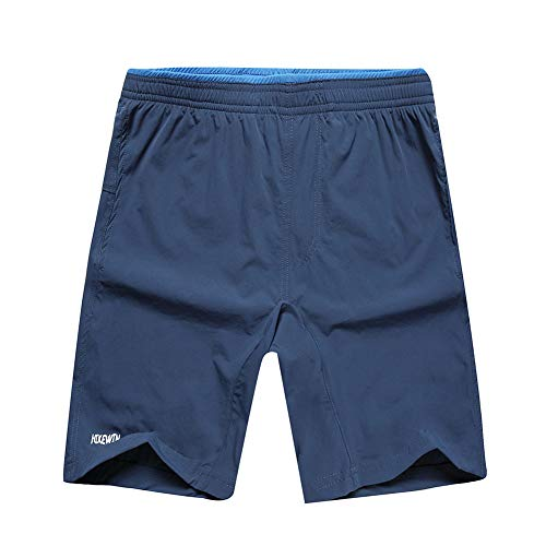Hikewin Men's Athletic Sports Workout Shorts with Zip Pockets Quick Dry Outdoor Recreation Short Navy