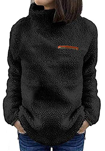 onlypuff Long Sleeve Comfy and Soft Tunic Tops for Women Black Sweater Winter Sherpa Jacket Large