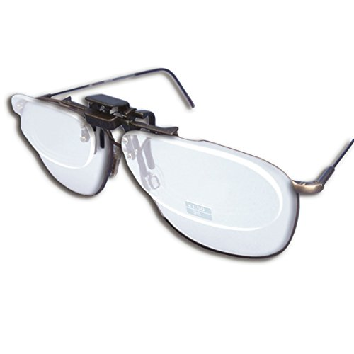 Small Clear Clip-on Flip-up Magnifying Reading Glasses +2.00 Diopter ()