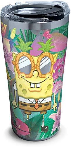 Tervis 1333849 Nickelodeon - SpongeBob SquarePants Tropical Stainless Steel Insulated Tumbler with Clear and Black Hammer Lid, 20 oz, Silver