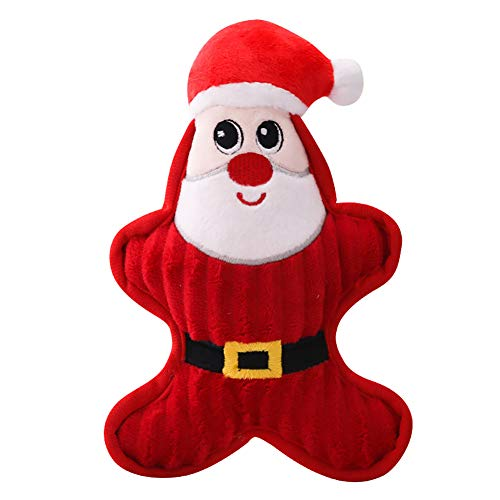NiceWave Dog Plush Toy Christmas Dog Dog Puppy Biting Toy Toy Cute Dog Teeth Toy Gift Medium Sized Puppy Santa Claus ()