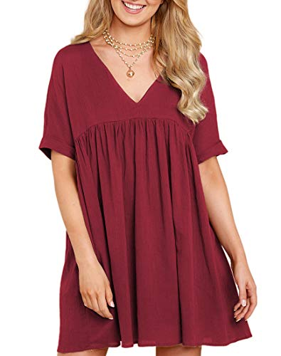 MIROL Women's Short Sleeve V Neck Pleated Babydoll Solid Color Tunic Party Mini Dress (S, Wine)