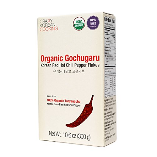 Gochugaru Organic, USDA Certified Organic Red Hot Chili Pepper Flakes, Korean Sun-Dried 10.6 oz Dried Crushed Red Pepper