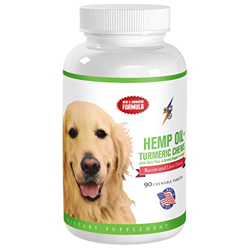 Health Kick Store Best Hemp Oil + Tumeric Chews for Dogs, Joint Care, Pain & Anxiety Support for Dogs, 90 Chewable Tablets (Bacon & Liver ()