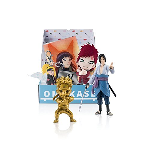 Naruto Shippuden Exclusive Omakase Blue Box featuring Naruto Mininja Gold Figurine, Sasuke Figure, Gaara Plush, Allied Shinobi Forces Haedband Sticker, Naruto and Hinata Poster and SD Deidara Keychain