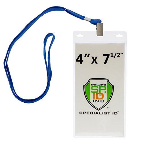 (10 Pack - Special Event 4X7 Extra Large Ticket Holders with Lanyards for Pit Passes and Playoff Games (Royal Blue))